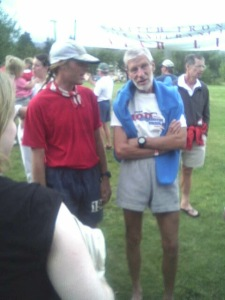 2004, Brian R. Harward in Red talks with legend Hans-Dieter Weisshaar after crossing the finish line past the cutoff.
