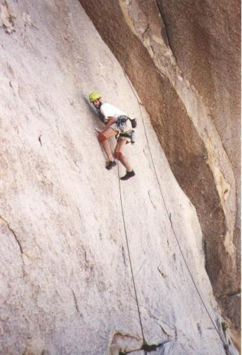 Me leading the route called Run For Your Life in Joshua Tree CA.