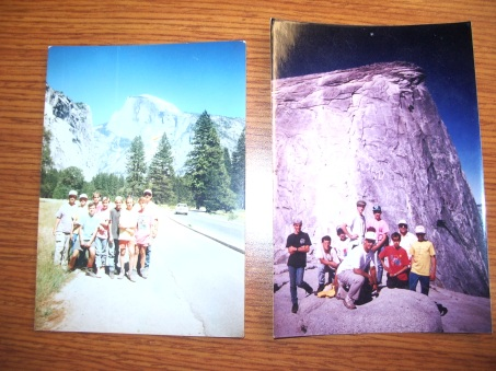 My Boy Scout troop climbed the cables at Half Dome, me in the red shirt on the photo on the right.