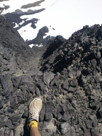 My shoe, to give perspective of the view from near the top of Black Tusk.