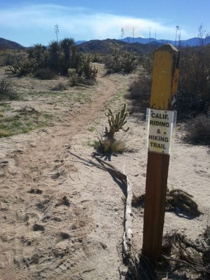 "Take a left onto this single-track trail marked as the ""CA Riding and Hiking Trail"" (mile 15 in the race)."