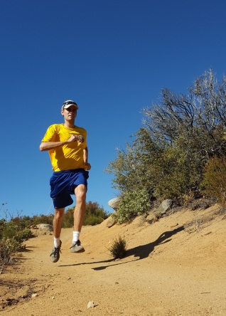 RD Brian enjoying the runnable Noble Canyon trail leading into Penny Pines.
